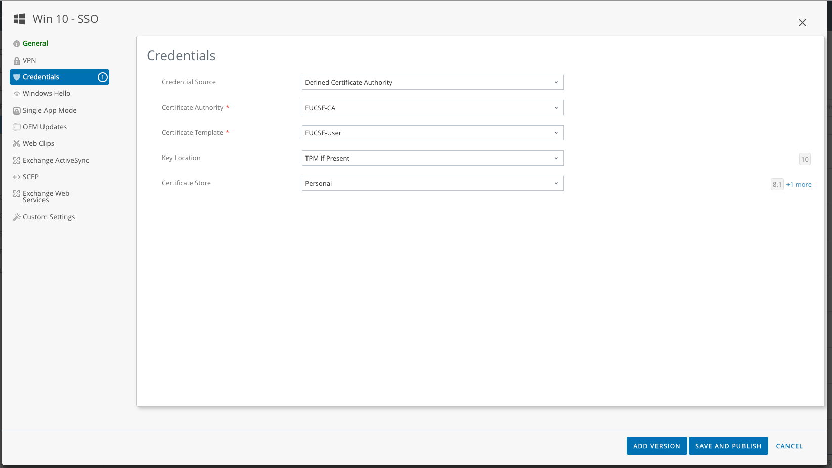 Workspace One – Enabling Certificate Based Access – Windows